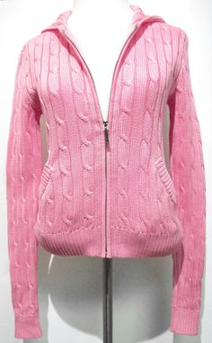 Cotton Cable Knit Soft Pink Cardigan Sweater & Beanie Set | Pink ...