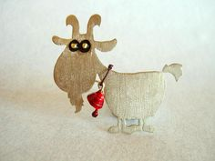 GOAT+BROOCH++little+animal+broochsummer+brooch+by+ONEIROXORA,+$22.00