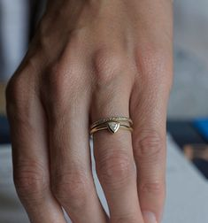 Trillion Diamond Engagement Ring, Trillion Wedding Diamond Ring, Eternity Diamond Band, 18k solid gold on Etsy, $1,625.00