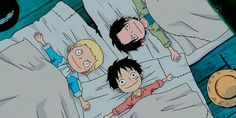 Ace, Luffy, Sabo, brothers, young, childhood, cute, pajamas; One Piece