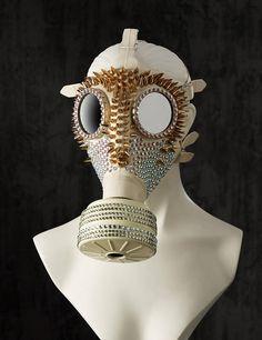 Edle Strass Gasmaske Weiße Fetisch Gummi Maske