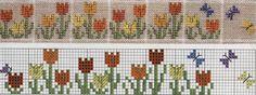 Cenefa de flores en punto cruz