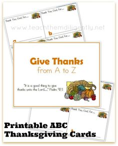 Give Thanks for A to Z~ FREE Printable Thanksgiving Cards | Teach Them Diligently