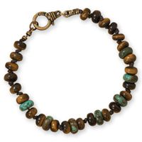 """8.75"""" Tiger's Eye and Reconstituted Turquoise Men's Fashion Bracelet"""