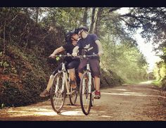 Sharing love with hubby while biking on the Vies Verdes bike trail in Costa Brava, Spain.