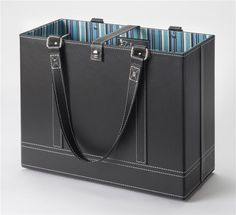 Comes with built-in metal rods for hanging file folders, plus sturdy shoulder straps so you can take it anywhere. The three interior pockets are perfect for pens, business cards, keys, phone—or whatever you need to make your travelling office work.