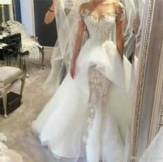 Stunning Overskirts Wedding Dresses 2016 Sheer Neck Short Sleeve Beaded Lace Appliques Vintage Mermaid Bridal Gowns With Detachable Train Mermaid Style Wedding Gowns Mermaid Sweetheart Wedding Dress From Dmronline, $173.57| Dhgate.Com