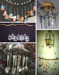 Tons of ideas for wind chimes made from recycled materials.