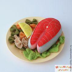 """Купить Еда из фетра """"Семга с овощами и фарфалле"""" - фетр, еда из фетра, для детей, подарок"""