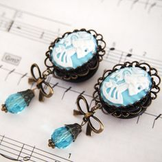 7/8 22mm Blue Skeletina Cameo Acrylic Dangle Plugs by Glamsquared, $35.00