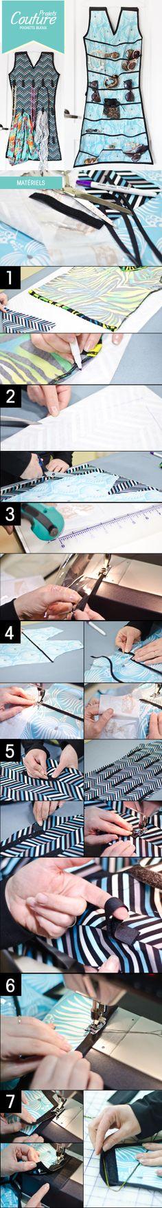 PAS À PAS: Confectionnez une pochette pour vos bijoux et accessoires modes! Une belle façons d'être organisée!  http://clubtissus.com/articles-blog/articles-couture/projet-pochette-bijoux