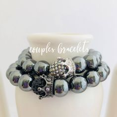 Couples Hematite King and Queen Bracelets