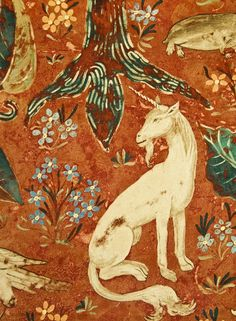 Arden Velvet Fabric Deep rust red Velvet fabric with typical 16th century tapestry, woodland scene.  Suitable for Curtains and Domestic Upholstery.