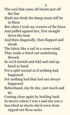 Clearances by Seamus Heaney.