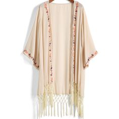 SheIn(sheinside) Apricot Embroidered Tassel Chiffon Kimono (300 MXN) ❤ liked on Polyvore featuring intimates, robes, kimono, jackets, sweaters, tops, apricot, chiffon robe, kimono robe and embroidered robes