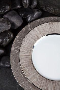 Legle Moonscape in platinum and Carbone #porcelain #tableware Agentia UK