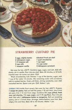 Strawberry Custard Pie, Vintage Pie Recipes, 1950s Pie Recipes