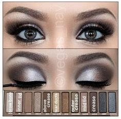 Naked Pallette by urban decay..I like how this shows the colors and where to apply them