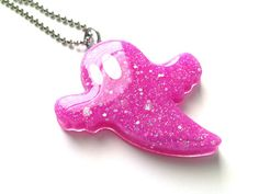 Bright Pink Kawaii Ghost Resin Jewelry Resin by LullaBelleCreation