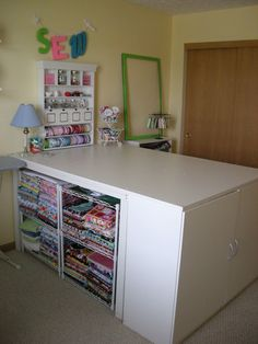 "Cutting table- ""6ft x4ft, waist high. The other side has more shelving tucked underneath for storage."""