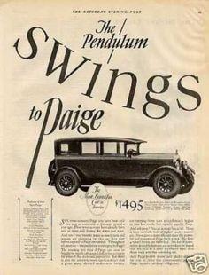 "Paige Car Ad ""The Pendulum Swings... (1926)"