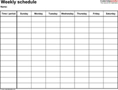 Daycare Weekly Schedule Template - 7 day | Daycare Daily Schedule ...