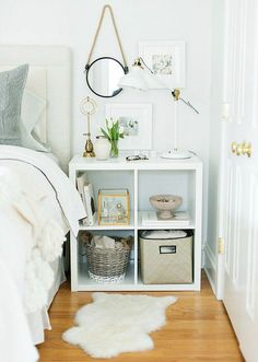 Nice idea to use a billy bookcase as a nightstand for extra storage space @istandarddesign
