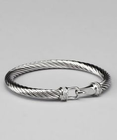 Take a look at this Clear Cubic Zirconia & Silver Hook Twist Bracelet by J. Goodin on #zulily today!