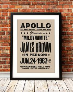 James Brown concert poster    Celebrate the genius of soul legend James Brown with this reimagined concert poster celebrating on of his legendary