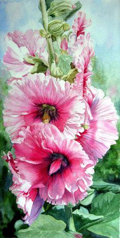 "Jane Freeman watercolour painting of hollyhocks (Canadian spelling of ""watercolour!"")"