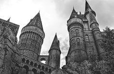 Hogwarts Schloss Harry Potter Wandkunst schwarz / weiß