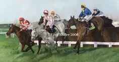 midfield, cheltenham horse racing art print by lisa miller