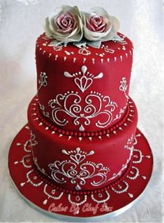 "Red Piped Cake --""I will be this talented one day"""