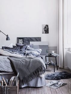 Bedding and messy sheets bedroom shelves, ikea bedroom, gray bedroom, b Shelves In Bedroom, Ikea Bedroom, Home Bedroom, Bedroom Decor, Bedroom Ideas, Master Bedroom, Bedroom Inspo, Bedroom Designs, Home Living