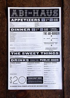 to eat at Abi-Haus before the baby arrives! menu and branding by the brilliant Restaurant Identity, Restaurant Menu Design, Restaurant Marketing, Honey And Lemon Drink, Texas Crafts, Beer Store, Strong Drinks, Collateral Design, Print Layout