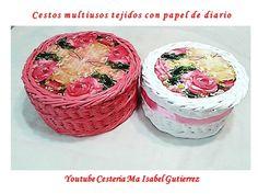 Cestos tejidos en papel con tejido cuerda y vueltas decorativas
