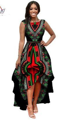 African Dashiki Ankara Dresses with Cascading Ruffle African Maxi Dress - Long Dress Gender: Women Waistline: Natural Decoration: Cascading Ruffle Sleeve Style: Tank Pattern Type: Print Style: Cute Ma African Dresses For Women, African Print Dresses, African Fashion Dresses, African Attire, African Wear, African Women, Ghanaian Fashion, African Prints, African Style