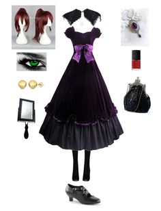 """""""Black Butler OC"""" by ender1027 ❤ liked on Polyvore featuring Fogal, NARS Cosmetics and Sevil Designs"""