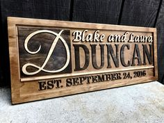 Personalized Wedding Gift Personalized Family Name Sign Wedding Established Sign Personalized Wooden Sign Couples Gift Idea Custom Wood Sign Personalized Wooden Signs, Personalized Couple Gifts, Custom Wooden Signs, Wooden Diy, Beach Signs Wooden, Wooden Wedding Signs, Custom Wedding Gifts, Wood Signs, Established Family Signs