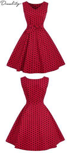 Up To 40% Off.Vintage Polka Dot Belt Flare Dress.Extra 12% 6f6d25d1b