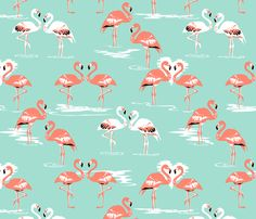 Flamingos love mint fabric by coggon_(roz_robinson) on Spoonflower - custom fabric