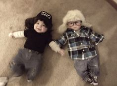 Babies dressed as Wayne and Garth from Wayne's World.