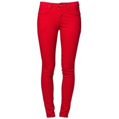 People's Market COBAIN Slim fit jeans (€28) ❤ liked on Polyvore featuring jeans, pants, bottoms, calças, pantalones, red, women's trousers, red jeans, red slim jeans and slim cut jeans