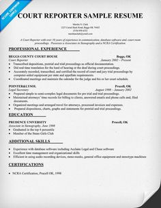 court reporter resume sample resumecompanioncom law - Court Reporter Resume Samples