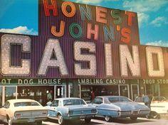Honest John's. Las Vegas c.1971.Ford Maverick, Mustang, and Pontiac Grand Prix. Photo via David Grant.