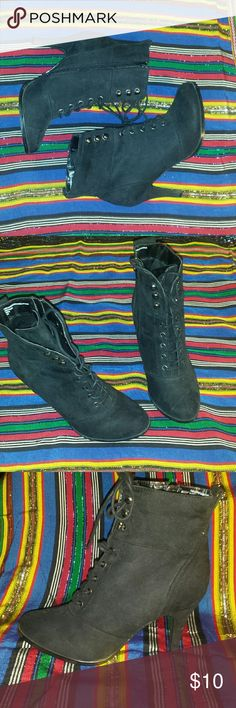 Diba Black Faux Suede Heel Bootie Cute black faux suede ankle heel bootie by Diba. Lace up in the front, zip up on the side. 2.5 inch heel Almond toe  Can no longer fit these.  Only worn twice.  If you have any questions don't be afraid to ask.  Feel free to make any offers! Diba Shoes Ankle Boots & Booties