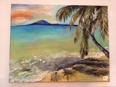 Sunset at the Beach, by Emily Doerr, my painting for sale on Etsy. - EmilysArtandDesign