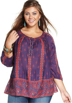 Lucky Brand Plus Size Printed Peasant Top