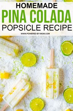 The tropical flavors of pineapple Pina Colada Popsicle Recipe, Chocolate Dipped Fruit, Mango Ice Cream, Keylime Pie Recipe, Ice Cream Cookie Sandwich, Popsicle Recipes, Toasted Coconut, Homemade Cakes