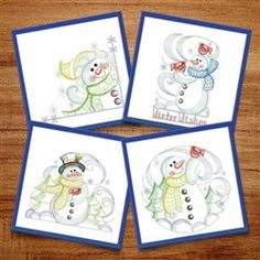 Rippled Winter Snowman machine embroidery design pack from embroiderydesigns.com. Machine Embroidery Designs, Snowman, Coasters, Quilting, Packing, Diy Crafts, Winter, Sweet, Plants